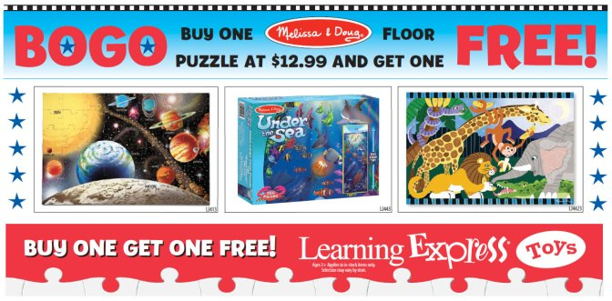 Buy 1 Get 1 Melissa and Doug Puzzles