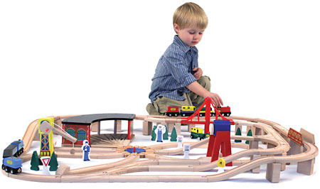 Melissa and doug learning express toys for 100 piece cityscape train set and wooden activity table